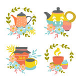 Hand Drawn Tea Time Compositions. With pots cups jam jar wreaths leaves flower decoration isolated vector illustration Royalty Free Stock Photo