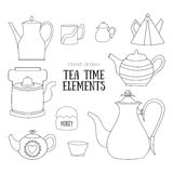 Hand drawn tea time elements Royalty Free Stock Image