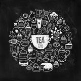 Hand drawn tea time illustration Royalty Free Stock Photo