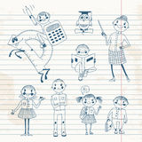 Hand drawn teacher and schoolchildren. Stock Photos