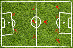 Hand drawn team soccer field Royalty Free Stock Photography