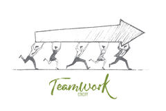 Hand drawn teamwork concept with lettering royalty free illustration
