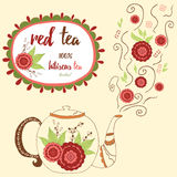 Hand drawn teapot with red hibiscus tea. Perfect steam with doodle flowers. Stock Image