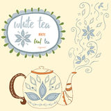 Hand drawn teapot with white tea. Perfect steam with doodle tea leaves and flowers. Royalty Free Stock Photo