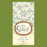 Hand drawn template packaging white tea, label, banner, poster, identity, branding. Royalty Free Stock Photography