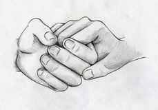 Hand drawn tender hands sketch. Tender hands of two people who love each other. Pencil drawing, sketch vector illustration