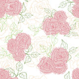 Hand drawn tender vintage  roses seamless pattern Stock Image