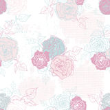 Hand drawn tender vintage  roses seamless pattern in pastel tone Royalty Free Stock Images