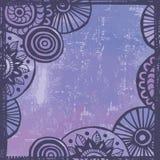 Hand drawn tender  violet  ethnic frame Stock Photo