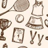 Hand drawn Tennis game seamless pattern Stock Image