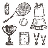 Hand drawn Tennis game set Royalty Free Stock Images