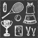 Hand drawn Tennis game set Stock Image