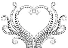 Hand Drawn Tentacle Illustrations vector. Hand Drawn Tentacle. Black and white line drawing of squid. shape with heart vector Illustrations Royalty Free Stock Photography