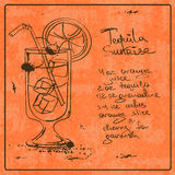 Hand drawn Tequila Sunrise cocktail Stock Photography