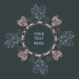 Hand drawn text frame and hearts. Vector ornate hand drawn text frame and hearts Stock Images