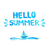 Hand drawn text hello summer. vector watercolor Stock Photography