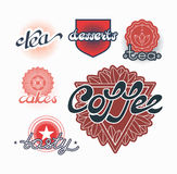 Hand drawn text labels for tea, coffee and sweets Royalty Free Stock Photo