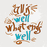 Hand drawn text lettering with Quotations stock photos