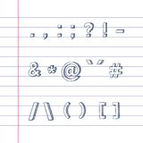 Hand drawn text symbols on lined paper. Several hand drawn text symbols on lined paper Royalty Free Stock Photo