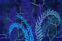Hand drawn textural fern and plant art dyed grunge background with Japanese ink antiqued style background in indigo blue. Grunge antiqued background dyed look stock illustration