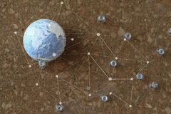 hand drawn texture globe and social network diagram with pin on Royalty Free Stock Photography