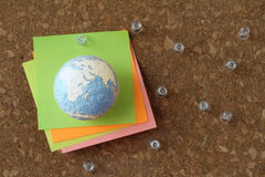 hand drawn texture globe and social network diagram with pin and Royalty Free Stock Images