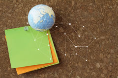 hand drawn texture globe and social network diagram with pin and Royalty Free Stock Photo