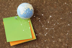 hand drawn texture globe and social network diagram with pin and Stock Photography