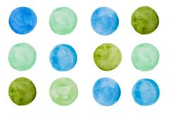 Hand drawn texture watercolor round circle blue and green royalty free illustration