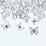 Hand Drawn Texture With Fuchsia Flowers And Butterflies. Stock Images