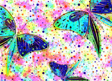 Hand drawn textured artistic background with insect. Creative wallpaper with  butterflies in rainbow colors. Stock Photos