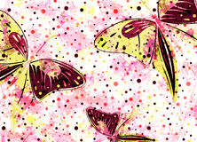 Hand drawn textured artistic background with insect. Creative wallpaper with  butterflies in red colors. Stock Images