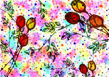 Hand drawn textured artistic floral background. Creative wallpaper with rose and leaves in rainbow. Color.s Decorative pattern. Horizontal banner. Series of Royalty Free Illustration