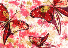 Hand drawn textured artistic floral background with insect. Creative wallpaper with butterflies in red colors. Decorative pattern. Horizontal banner. Series of Vector Illustration