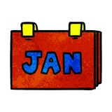 Hand drawn textured cartoon doodle of a calendar with jan. A creative textured cartoon doodle of a calendar with jan vector illustration
