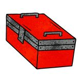 Hand drawn textured cartoon doodle of a metal tool box. A creative textured cartoon doodle of a metal tool box vector illustration