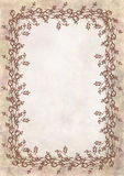 Hand drawn textured floral background.Crumpled paper with rose and leaves.Template for letter or greeting card Stock Photography