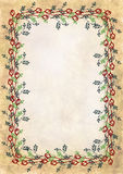 Hand drawn textured floral background.Crumpled paper with rose and leaves Royalty Free Stock Image