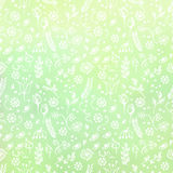 Hand drawn textured floral background. Green template with little flowers and leaves. Decorative pattern. Stock Images
