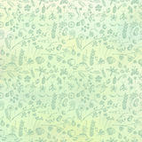Hand drawn textured floral background. Green template with little flowers and leaves Royalty Free Stock Images