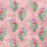 Hand drawn textured floral background. Pink template with little flowers, leaves. Crumpled paper. stock illustration