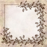 Hand drawn textured floral background.Vintage beige card with roses and leaves Royalty Free Stock Image