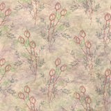 Hand drawn textured floral background.Vintage beige template with flowers and leaves. Stock Photos