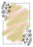 Hand drawn textured floral background.Vintage card with flowers, leaves, brushstrokes Stock Photos