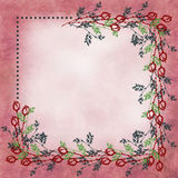 Hand drawn textured floral background.Vintage card with roses and leaves. Royalty Free Stock Photos