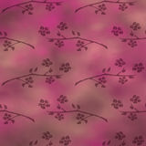 Hand drawn textured floral background.Vintage pink template with  flowers and leaves. Stock Photos