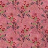Hand drawn textured floral background.Vintage red template with rose and leaves. Crumpled paper pattern. Stock Photo