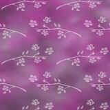Hand drawn textured floral background.Vintage violet template with branch with flowers and leaves. Royalty Free Stock Photos