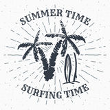 Hand drawn textured grunge vintage label, retro badge or T-shirt typography design with Palm tree and surfboards vector illustrati. On Royalty Free Stock Images