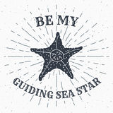 Hand drawn textured grunge vintage label, retro badge or T-shirt typography design with starfish and sunrays vector illustration Royalty Free Stock Image